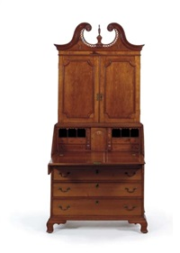 a chippendale desk-and-bookcase by silas rice