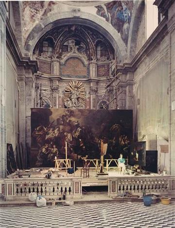 giulia zorzetti with a painting by francesco di mura naples by thomas struth