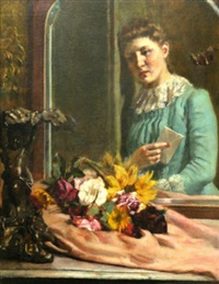 lady holding a letter reflected in a mirror by john knox ferguson