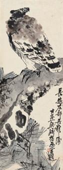 松鹰图 立轴 纸本 by liang qi