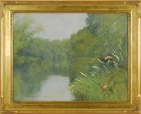 river landscape with flowers by horace c. dunham