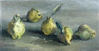 still life of pears by lucette de la fougere