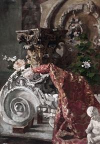 bodegón con flores y capitel by horacio lengo y martinez