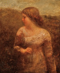 portrait of a young woman in a field by george f. fuller