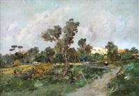 paesaggio con pini marittimi by romolo leone