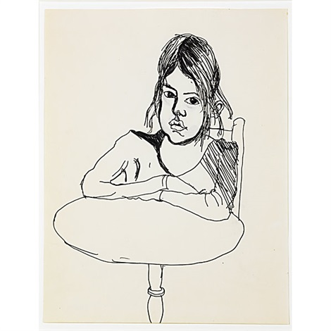 untitled young girl sitting at a table by alice neel