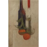 garrafa, castical e tangerinas by carlos scliar