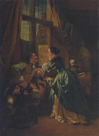 eine junge künstlerin und ihr kavalier by w van der daele