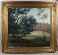 stream in a spring landscape by george harmon simmons