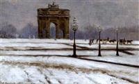 le carousel du louvre dans la neige by f. bouchor