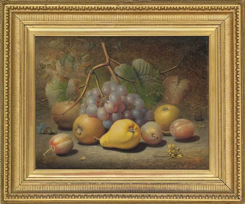 grapes apples plums pear and a thistle on a mossy bank by charles archer
