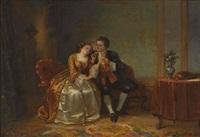 liebespaar im salon by henricus engelbertus reijntjens
