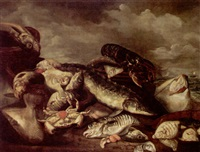 still life of saltwater fish in baskets, together with a crab, oysters and lobster on a seashore by isaac van duynen