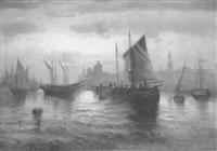 fischerboote vor der abendlichen silhouette venedigs by johann muller