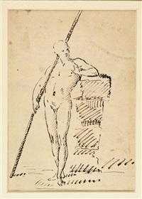 schizzo di figura con lungo bastone che si appoggia by giuseppe cades