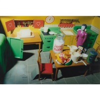 purple woman/kitchen/corner by laurie simmons