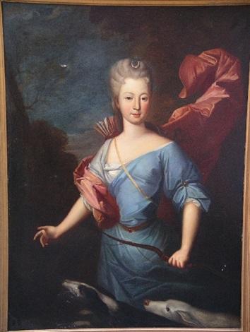 portrait de madame de jamet en diane chasseresse by pierre gobert