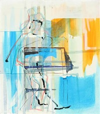 composition in blue and orange by ole heerup