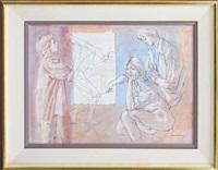 the art class - figure study, 1987 by louis kahan