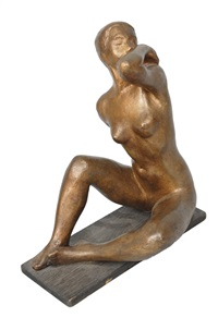 female nude with towel by arnold hilmer