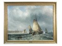 a sailing ship in choppy seas by william garthwaite