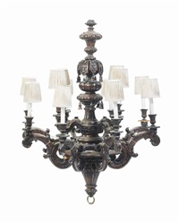 a baroque style stained wood twelve-light chandelier by anonymous (20)