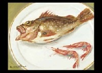 rockfish and shrimp (+ 2 others, watercolor on paper, various sizes; 3 works) by naonosuke aratani