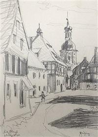 blick auf das rathaus und die kirche von geising, sachsen, mit den umliegenden häusern (from sketchbook) by fritz bleyl