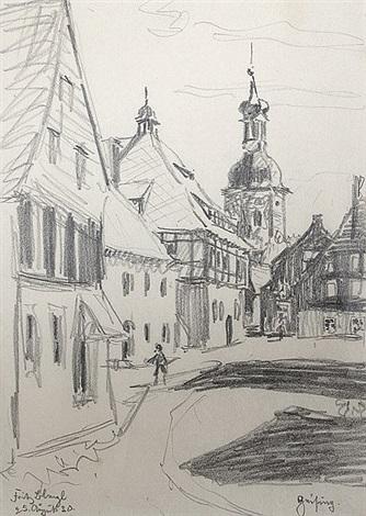 blick auf das rathaus und die kirche von geising sachsen mit den umliegenden häusern from sketchbook by fritz bleyl