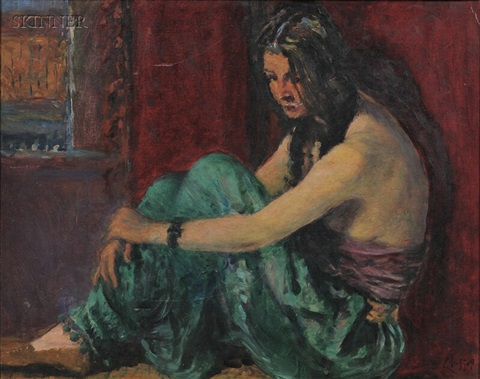 model in green harem pants by william baxter closson