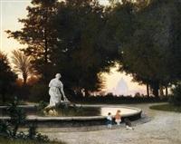 blick von den gärten des pincio auf st. peter in rom im abendlicht by michael haubtmann