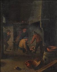 bäuerliches interieur mit rauchenden bauern vor kamin by jan miense molenaer