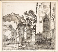 corner of the huguenot church, charleston, south carolina by alfred heber hutty