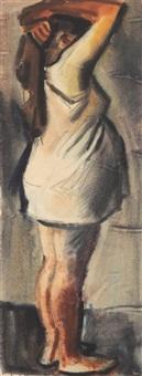 stehende schwangere bäuerin by curt querner