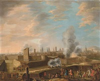 a capriccio view of the siege of a city by peter tillemans