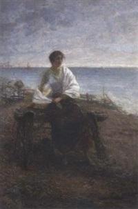 fischersfrau am strand by otto rudolf hessler