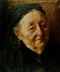 bildnis eine alter frau in schwarzer kleidung by franz obermüller