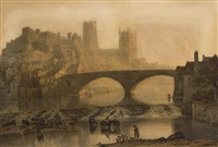 durham cathedral: misty morning by john glover