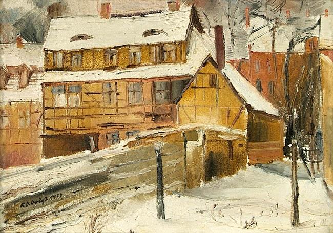 häuser im schnee by richard otto voigt