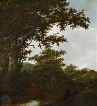 bewaldete landschaft mit einem wanderer im vordergrund by gillis rombouts