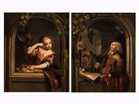 juges mädchen in rundbogigem, steinernen fensterrahmen (+ musiker beim geigenspiel im rundbogigen fensterrahmen; pair) by gerrit dou