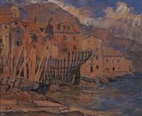 hafenstadt mit werfthafen an der ligurischen küsten by heinrich linde-walther