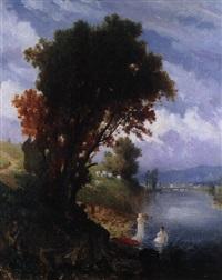 landschaft mit fluss by ludwig (hofmann-zeitz) hofmann