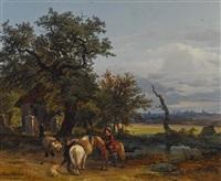 landschaft mit reiter by franz reinhold