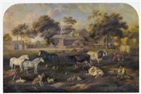a busy farmyard scene before buildings and the farmer surveying his livestock by g. jackson
