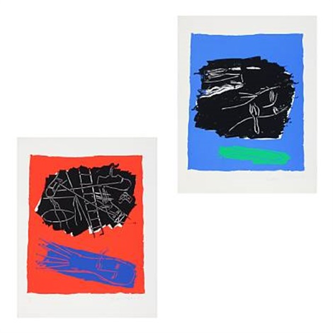 compositions with figures (2 works) by bruce mclean