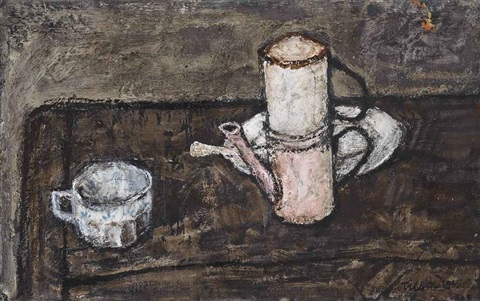 still life with caffetiera by joe tilson