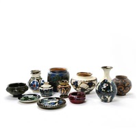 11 small dishes, bowls and vases (11 works, various sizes) by herman august kähler