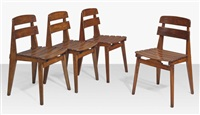 all wood chairs (set of 4) by jean prouvé