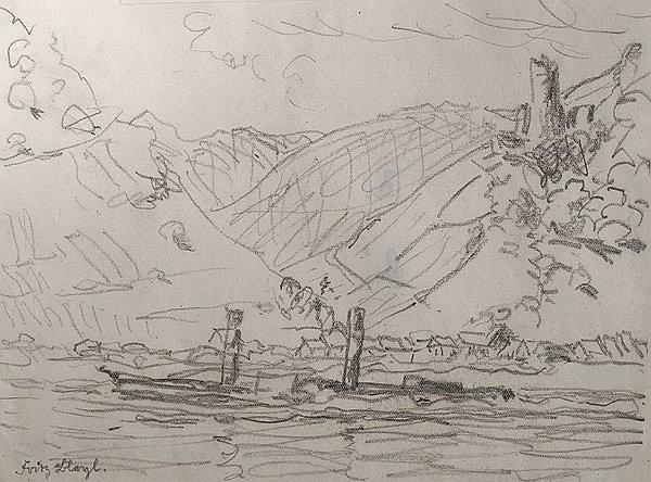 blick über den befahrenen rhein auf die burg fürstenberg from sketchbook by fritz bleyl